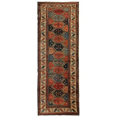 Handwoven Carpet Antique Caucasian Runner Rug Long Wool
