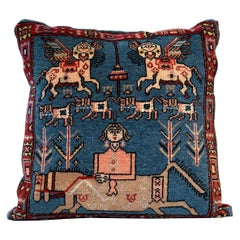Handwoven Carpet Decorative Pillow, Rustic Cushion Cover Blue Hand Knotted
