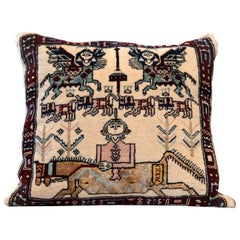 Handwoven Carpet Decorative Pillow, Rustic Cushion Cover Cream Hand Knotted