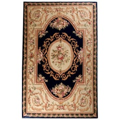 Handwoven Carpet Flat-Weave Aubusson Style Rug Floral Tapestry