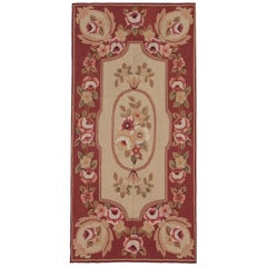 Handwoven Carpet French Aubusson Style Rug Red Runner Rug