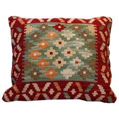 Handwoven Carpet Kilim Rug Decorative Pillow, Blue Cushion Cover Aztec Design