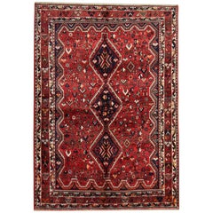 Handwoven Carpet Oriental Area Rug, Red Vintage Carpet Rug