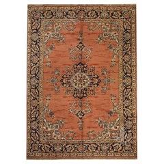 Handwoven Carpet Rust Vintage Indian Wool Area Rug