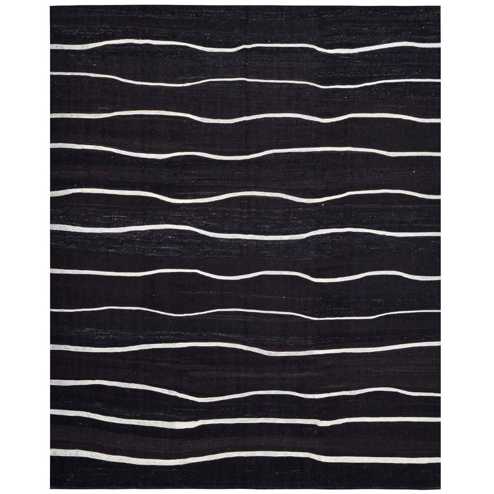 21st Century Handwoven Contemporary Black and White Kilim Carpet