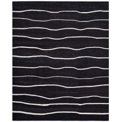 Handwoven Contemporary Black and White Kilim Carpet