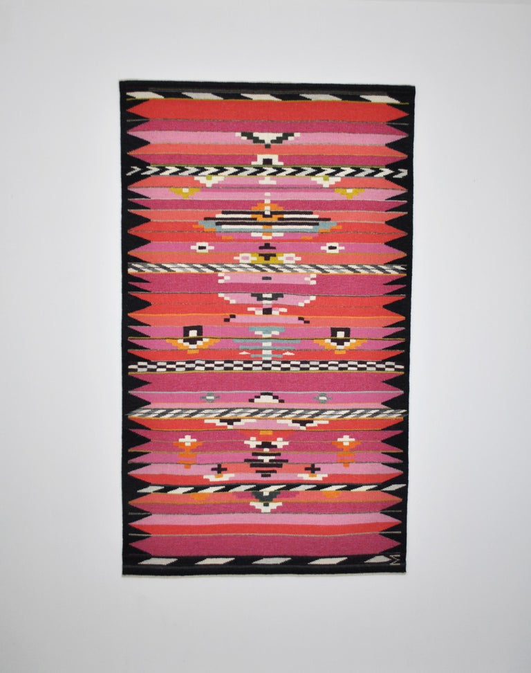 Danish contemporary handwoven tapestry from 2005 by the Danish weaver and painter Mette Birckner.  Handwoven wool. Fine craftsmanship and quality, very fine condition. Measures: W 106 cm, H 180 cm   Mette Birckner trained tapestry weaver from