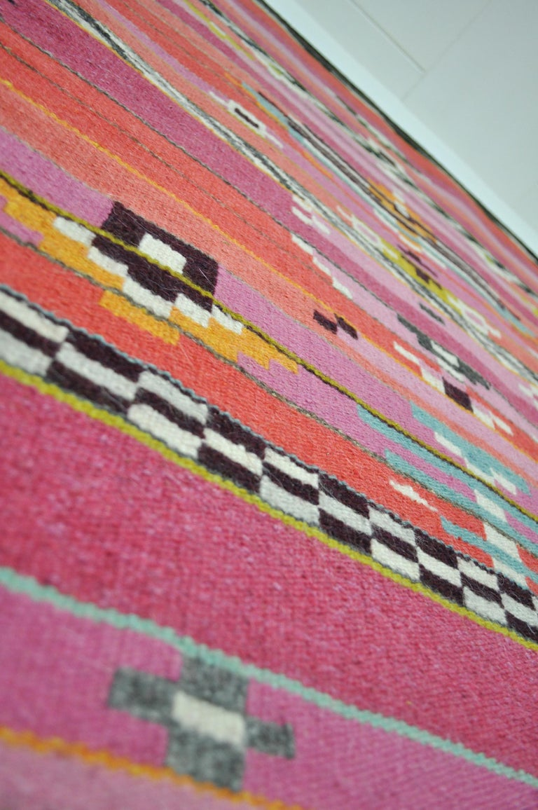 Handwoven Contemporary Scandinavian Wool Tapestry For Sale 2