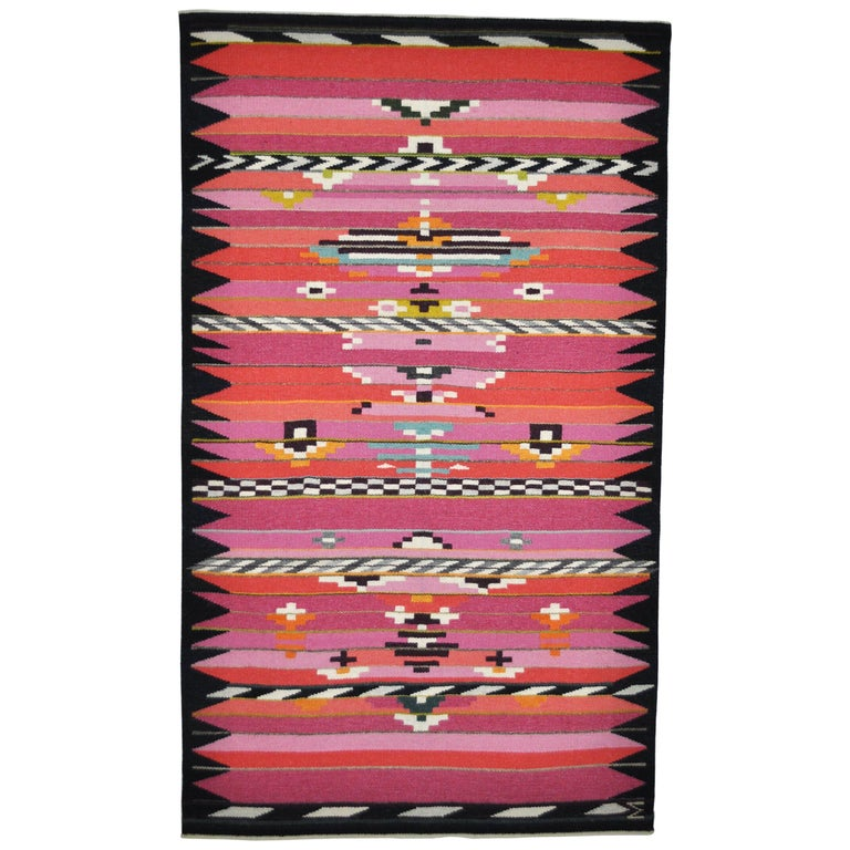 Handwoven Contemporary Scandinavian Wool Tapestry For Sale