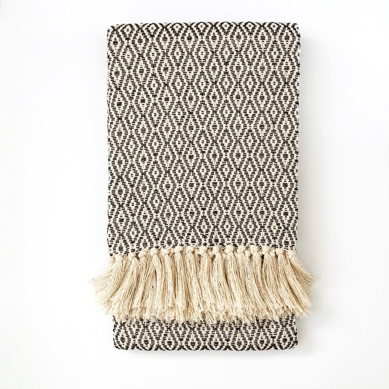 Soft, natural 100% cotton throw made in one of the mother countries, Portugal. This lovely throw gets softer and softer by the minute and is warm enough for colder temperatures yet light enough to be used year round.   Also available in natural and