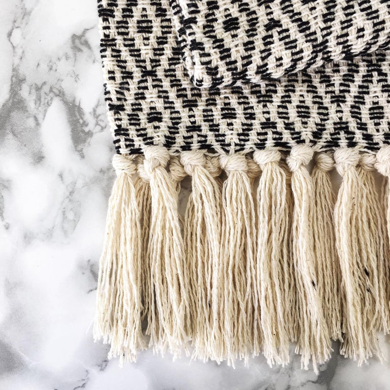 Hand-Woven Handwoven Cotton Black and Natural Fringed Throw, in Stock For Sale