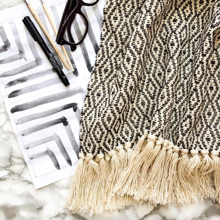 Handwoven Cotton Black and Natural Fringed Throw, in Stock In New Condition For Sale In West Hollywood, CA