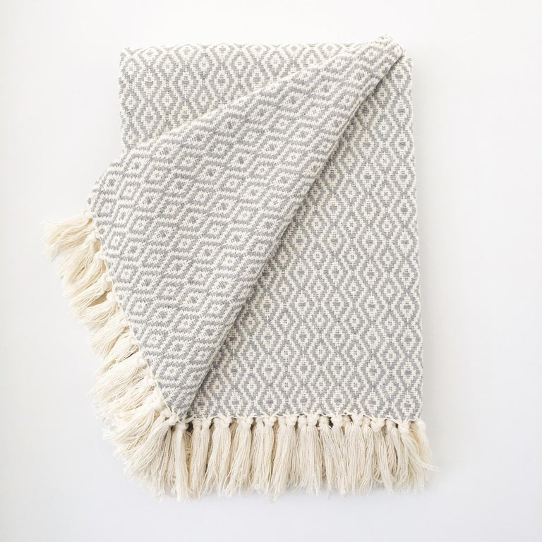Handwoven Cotton Black and Natural Fringed Throw, in Stock For Sale 1
