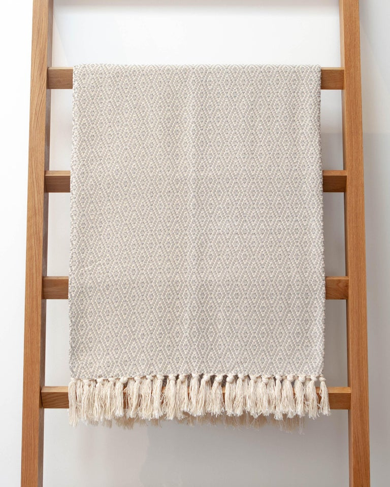 Handwoven Cotton Black and Natural Fringed Throw, in Stock For Sale 2