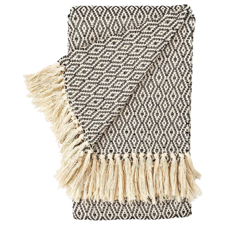 Handwoven Cotton Black and Natural Fringed Throw, in Stock For Sale