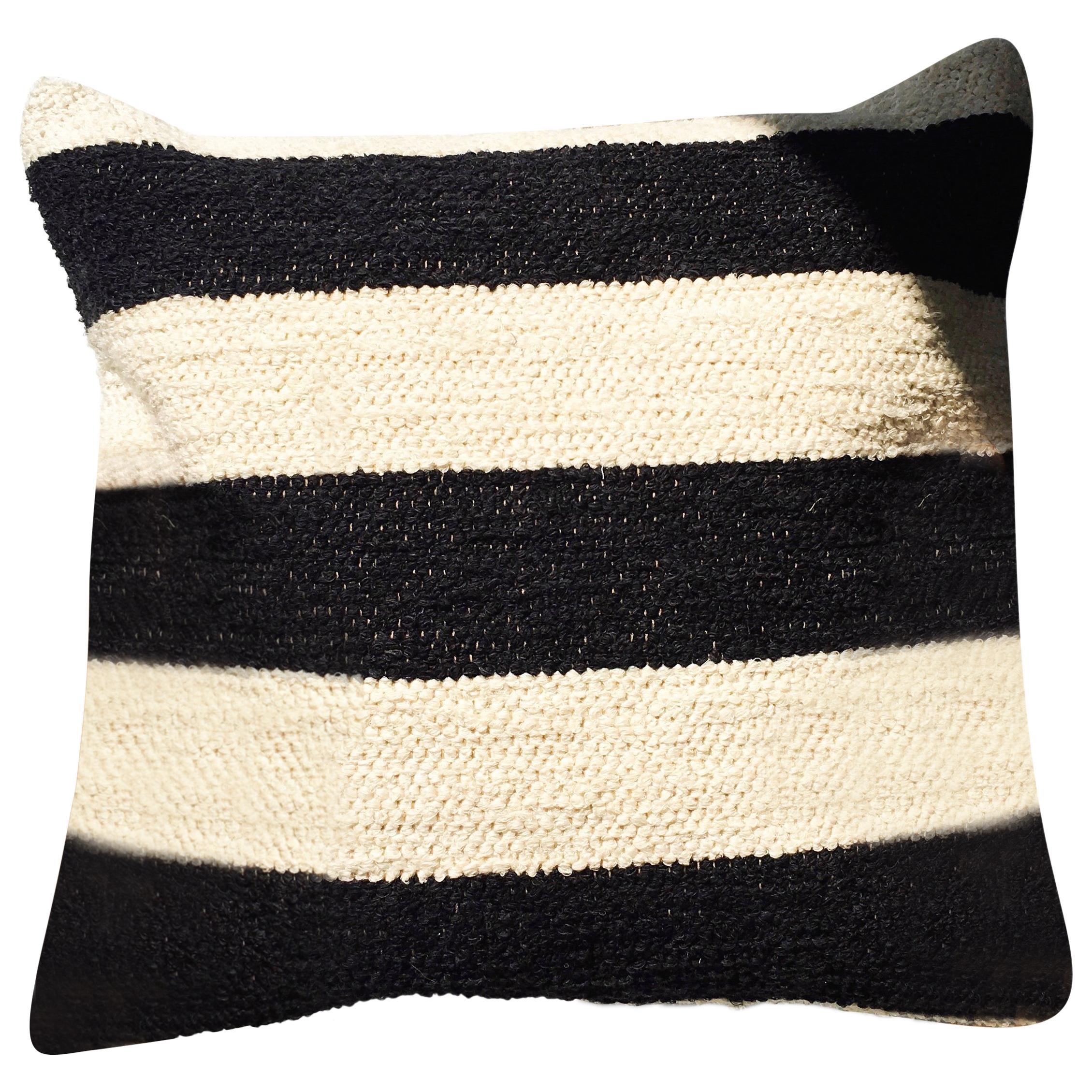 Handwoven Cotton Bold Stripe Throw Pillow, in Stock