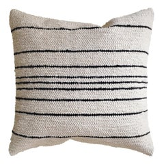 Handwoven Cotton Thin Stripe Throw Pillow in Black and Natural, in Stock