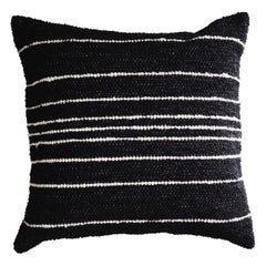 Handwoven Cotton Thin Stripe Throw Pillow in Charcoal, in Stock