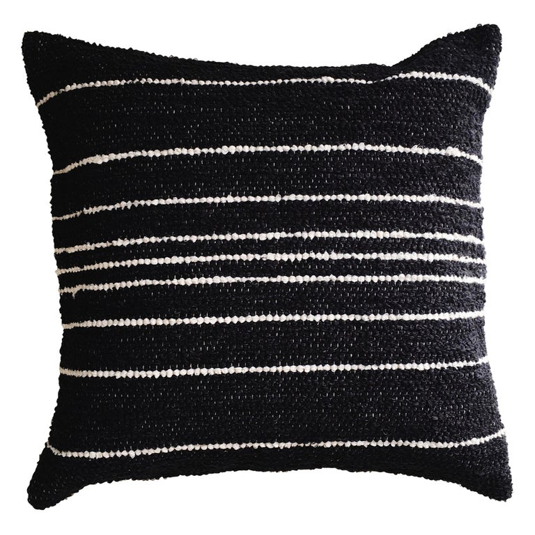 Handwoven Cotton Thin Stripe Throw Pillow In Charcoal In