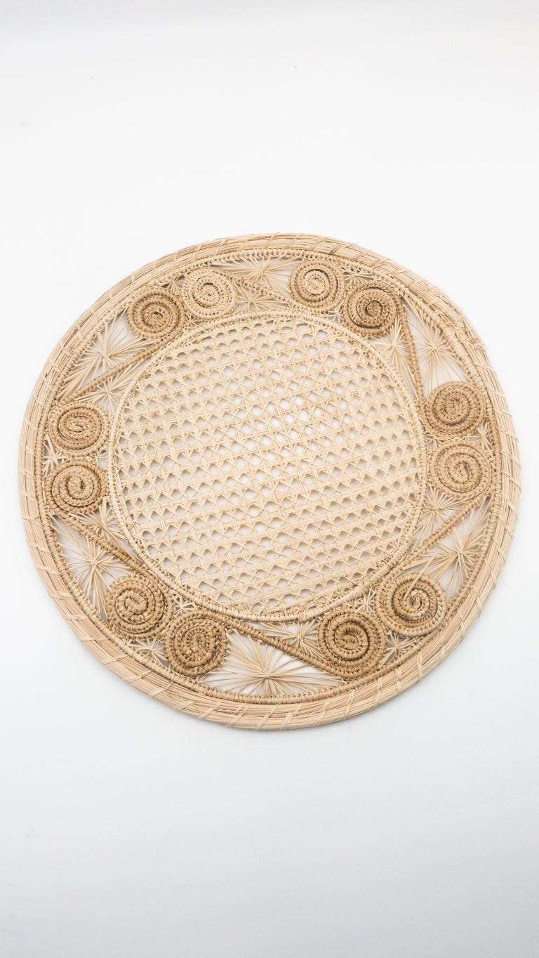 Handwoven cream Iraca fibre placemat(s) made in Columbia, 14