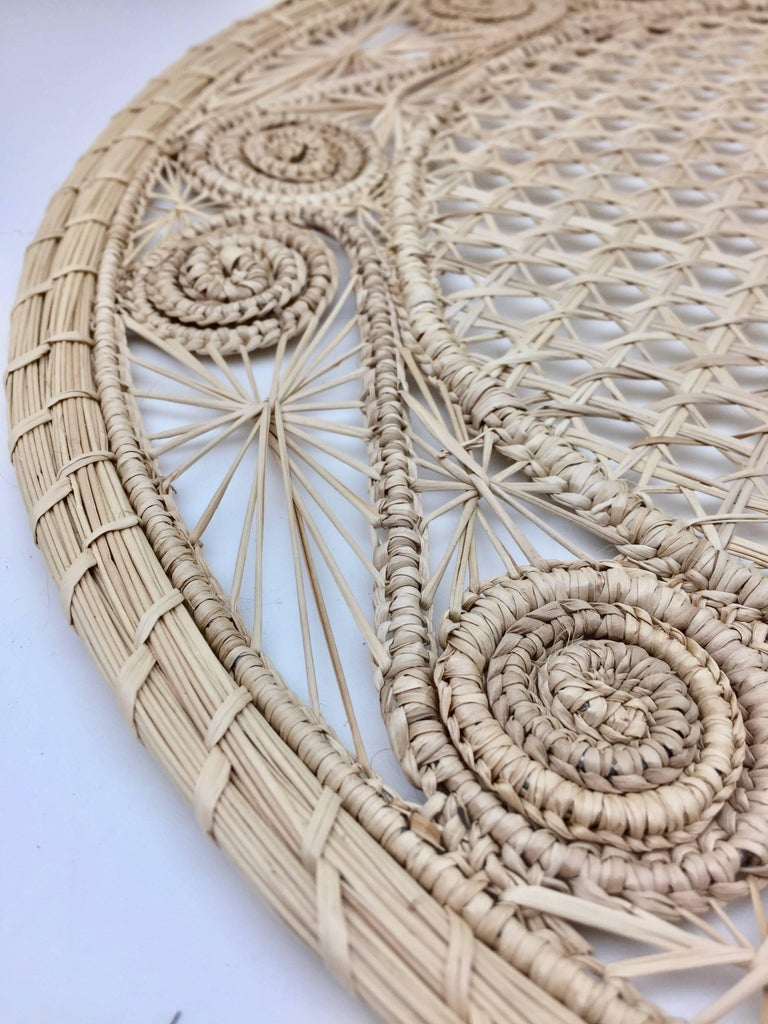 Hand-Woven Handwoven Cream Iraca Fibre Placemat's' Made in Columbia For Sale
