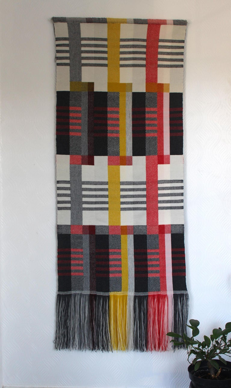 Handwoven on a dobby loom in Pamela's studio using a complex double cloth weaving technique and a combination of weave structures, this unique, striking wall hanging draws inspiration from the Art Deco and Bauhaus movements.  Custom made for the