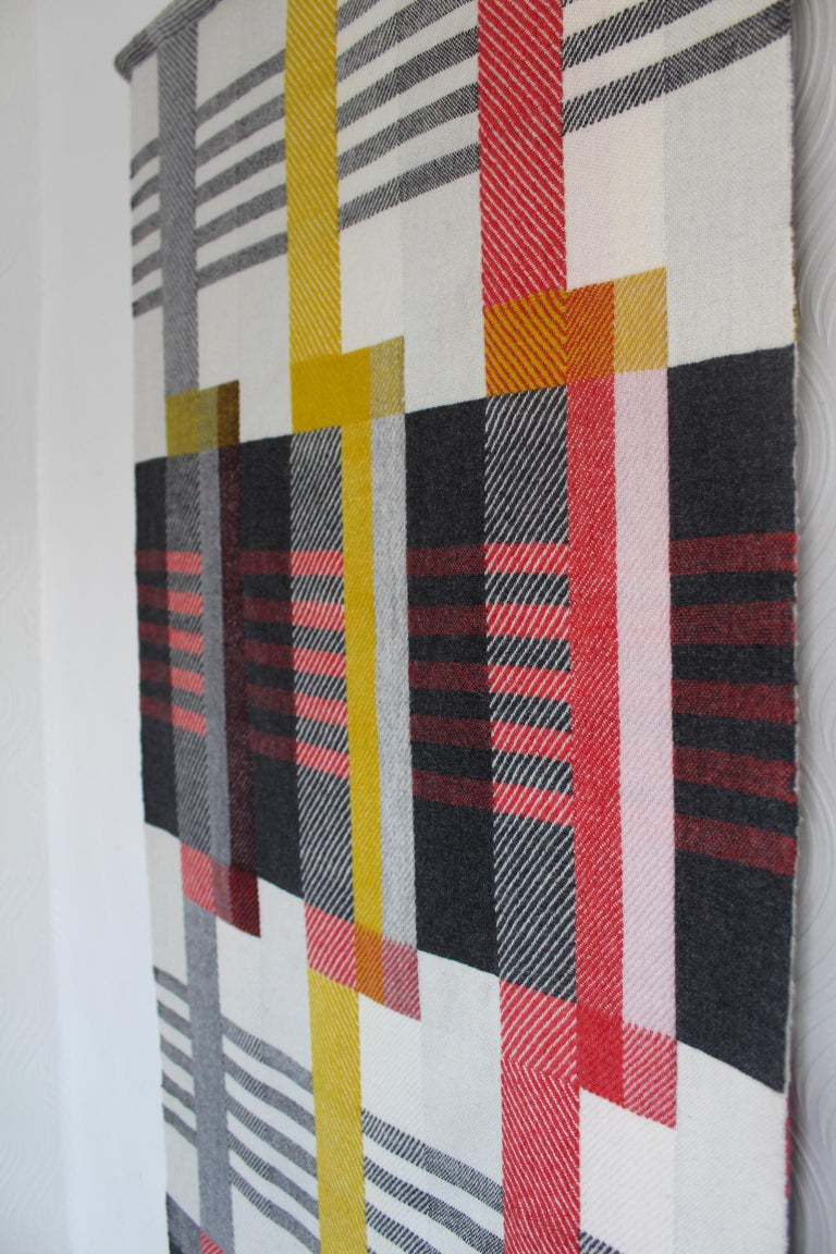 Handwoven 'Etterbeek' Bauhaus  Merino Wool Wall Hanging In New Condition For Sale In Chelmsford, GB