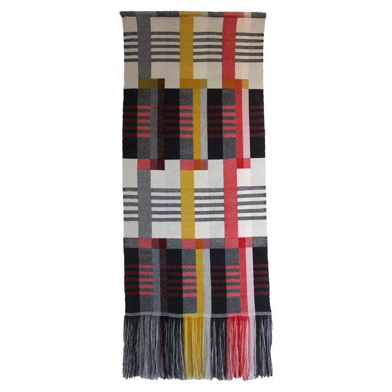 Handwoven 'Etterbeek' Bauhaus  Merino Wool Wall Hanging For Sale