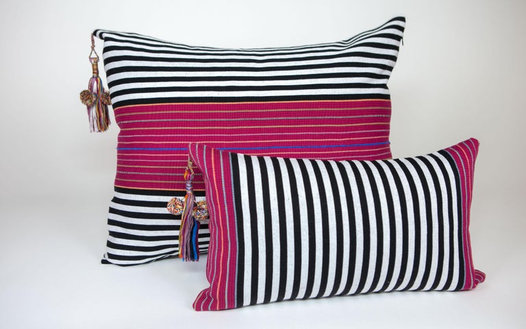 Mexican Handwoven Fine Cotton Large Pillow Black Stripes with Red Trim & Tassel in Stock For Sale