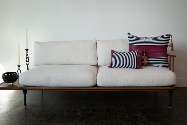 Hand-Woven Handwoven Fine Cotton Large Pillow Black Stripes with Red Trim & Tassel in Stock For Sale