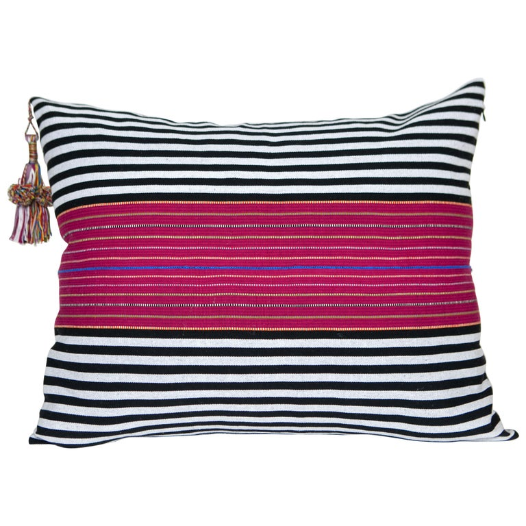 Handwoven Fine Cotton Large Pillow Black Stripes with Red Trim & Tassel in Stock For Sale