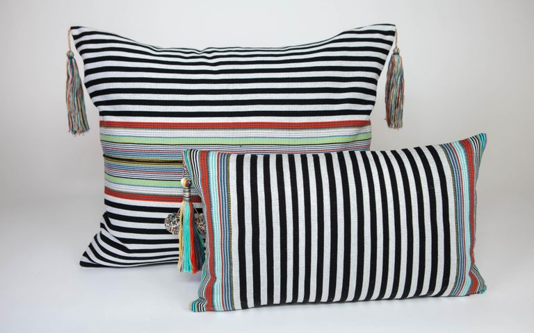 Mexican Handwoven Fine Cotton Pillow Black Stripes, MultiColor Trim and Tassel, In Stock For Sale