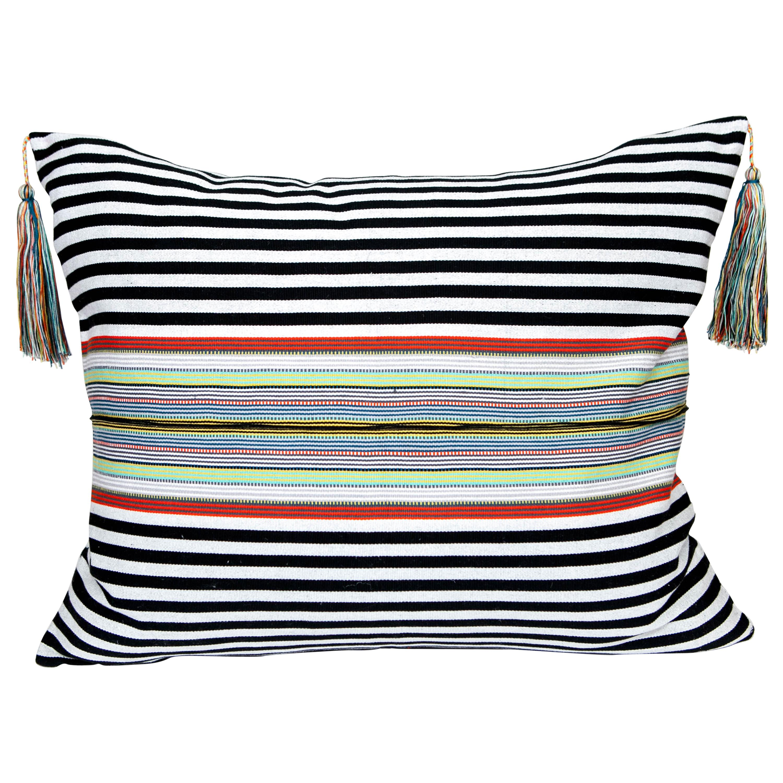 Handwoven Fine Cotton Pillow Black Stripes, Multicolor Trim and Tassel In stock