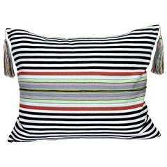 Handwoven Fine Cotton Pillow Black Stripes, Multicolor Trim and Tassel In stock