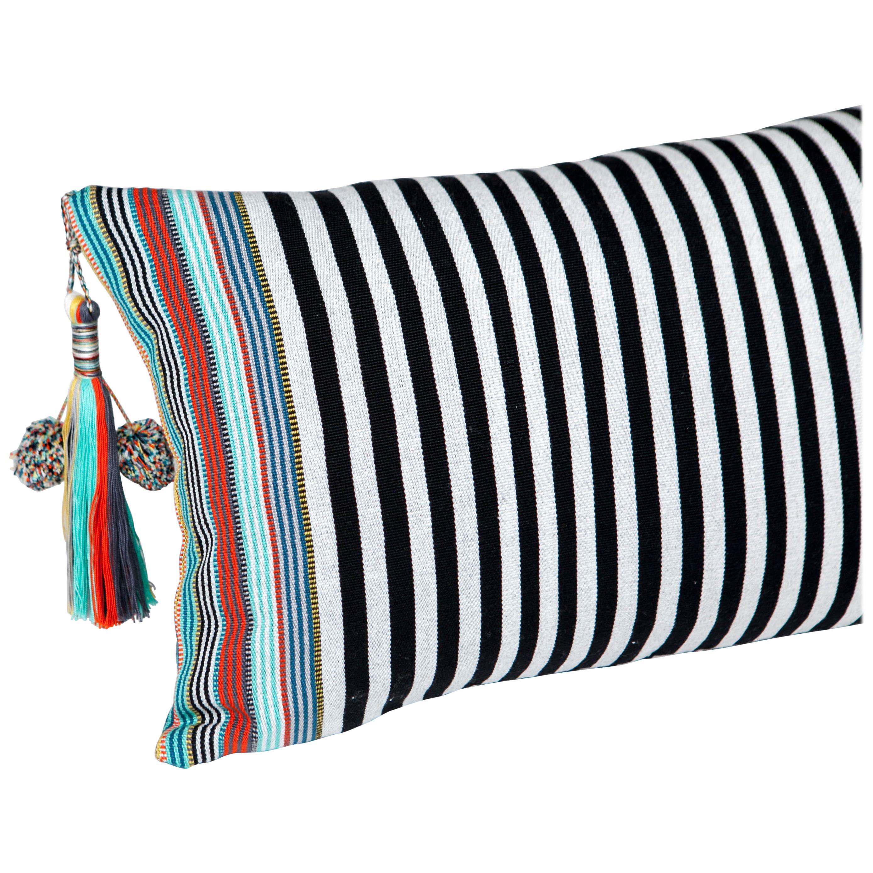 Handwoven Fine Cotton Pillow Black Stripes, MultiColor Trim and Tassel, In Stock