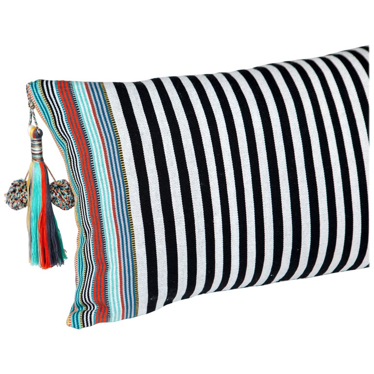Handwoven Fine Cotton Pillow Black Stripes, MultiColor Trim and Tassel, In Stock For Sale