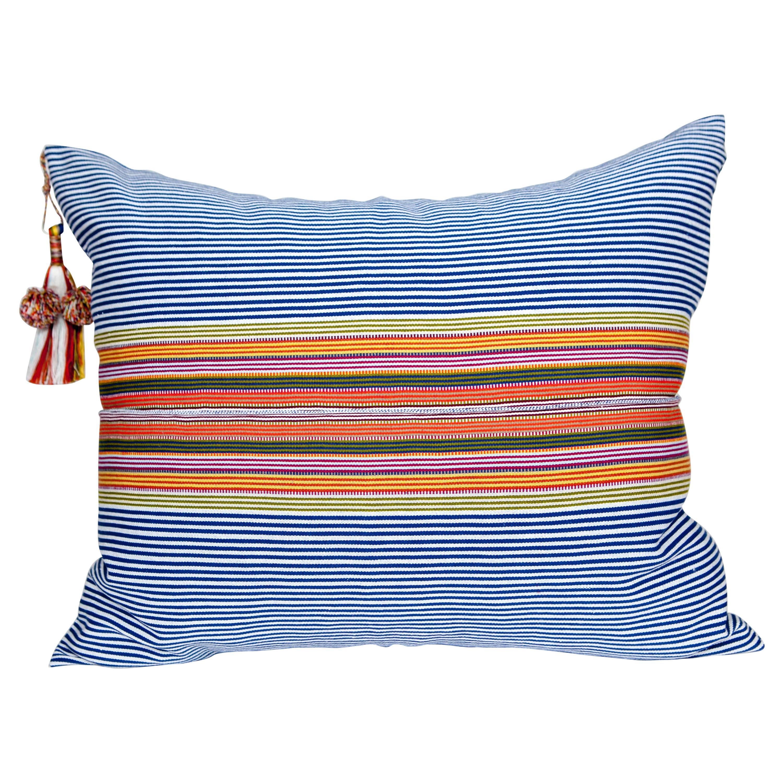 Handwoven Fine Cotton Pillow, Blue Stripes w Multi Color Trim & Tassel, In Stock