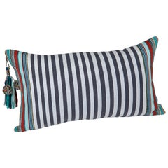 Handwoven Fine Cotton Sm Pillow Grey Stripes with Multi-Color Trim & Tassel