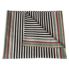 Handwoven Fine Cotton Throw in Black Stripes with Mulit-Color Trim, in Stock