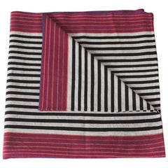 Handwoven Fine Cotton Throw in Black Stripes with Red Trim Extended, in Stock