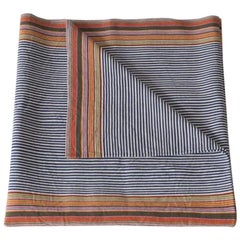 Handwoven Fine Cotton Throw in Blue Stripes with Multi-Color Trim, in Stock