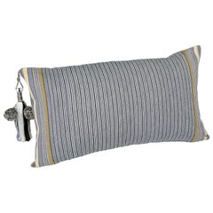 Handwoven Fine Cotton Throw Sm Pillow in Thin Grey Stripe with Tassel, in Stock
