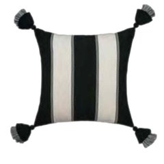 Handwoven Fine Cotton Triple Stripe Throw Pillow from Peru, in Stock, ON SALE