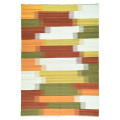 Handwoven Flat-Weave Colorful Durie Kilim Pure Wool Carpet