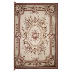 Handwoven Floral Needlepoint, Flat-Weave Aubusson Style Tapestry, Wall Hanging
