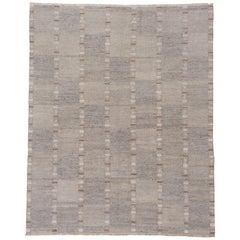 Handwoven Gray Scandinavian Design Rug, Box Design Allover Field