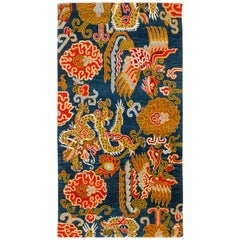 Handwoven Indigo and Red Chinese Dragon and Phoenix Rug by Carini