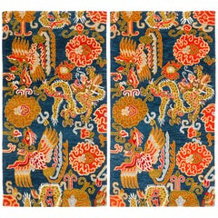 Handwoven Indigo and Red Chinese Dragon and Phoenix Rugs by Carini