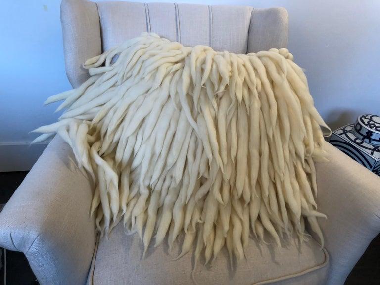 Modern Handwoven Italian Merino Wool Pillow by Le Lampade For Sale