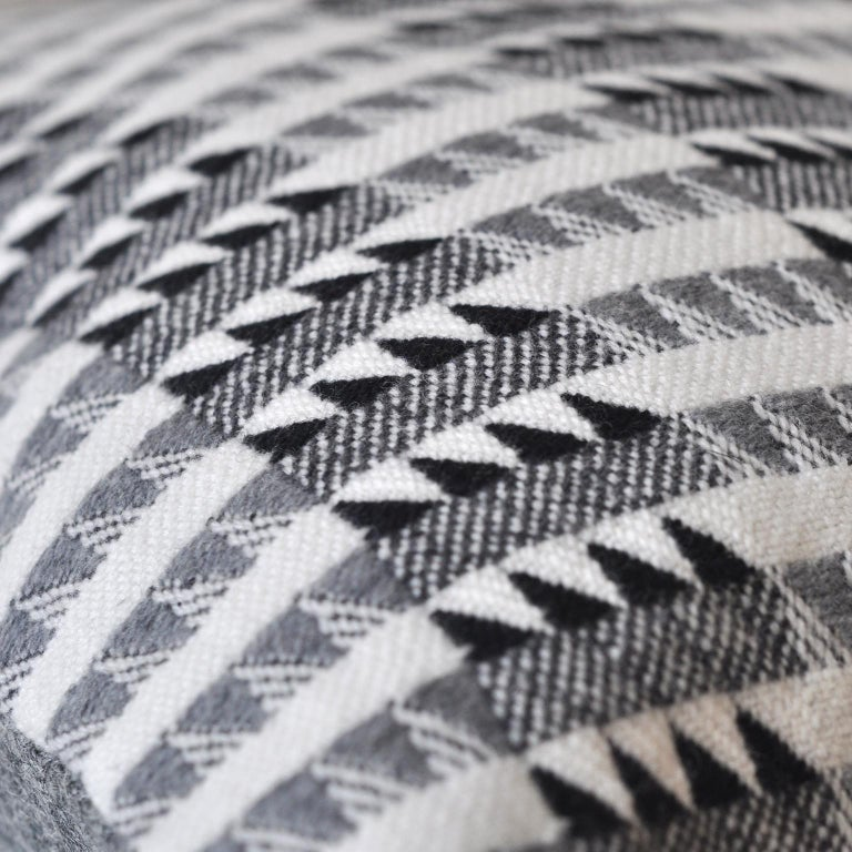 Mid-Century Modern Handwoven 'Ixelles' Geometric Merino Wool Cushion Pillow, Graphite Grey For Sale